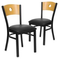 Flash Furniture Circle Back Metal and Natural Wood Chairs with Black Vinyl Seats (Set of 2)