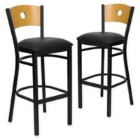 Flash Furniture Circle Back Metal and Natural Wood Bar Stools with Black Vinyl Seats (Set of 2)