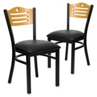 Flash Furniture Slat Back Metal and Natural Wood Chairs with Black Vinyl Seats (Set of 2)