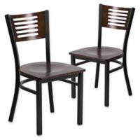 Flash Furniture Slat Back Metal and Walnut Wood Chairs (Set of 2)