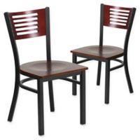 Flash Furniture Slat Back Metal and Mahogany Wood Chairs (Set of 2)