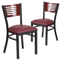Flash Furniture Slat Back Metal and Mahogany Wood Chairs with Burgundy Vinyl Seats (Set of 2)