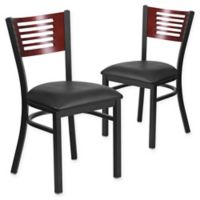 Flash Furniture Slat Back Metal and Mahogany Wood Chairs with Black Vinyl Seats (Set of 2)