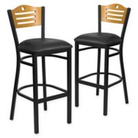 Flash Furniture Slat Back Metal and Natural Wood Stools with Black Vinyl Seat (Set of 2)