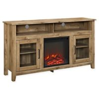 """Forest Gate 58"""" Huntley Traditional Fireplace Wood Glass TV Stand in Barnwood"""