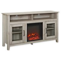 "Forest Gate 58"" Huntley Traditional Fireplace Wood Glass TV Stand in White Oak"
