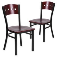 Flash Furniture Mahogany Wood Back and Metal Chairs with Black Vinyl Seat (Set of 2)