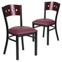 Flash Furniture Square Back Metal and Mahogany Wood Chairs with Burgundy Vinyl Seats (Set of 2)