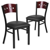 Flash Furniture Square Back Metal and Mahogany Wood Chairs with Black Vinyl Seats (Set of 2)