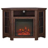 """Forest Gate 48"""" Noah Traditional Corner Fireplace TV Stand in Brown"""
