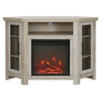 "Forest Gate 48"" Noah Traditional Corner Fireplace TV Stand in White Oak"