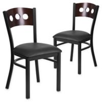 Flash Furniture Circle Back Metal and Walnut Wood Chairs with Black Vinyl Seats (Set of 2)
