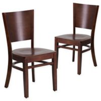 Flash Furniture Solid Back Walnut Wood Chairs (Set of 2)