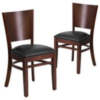 Flash Furniture Solid Back Walnut Wood Chairs with Black Vinyl Seats (Set of 2)