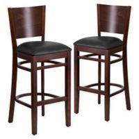 Flash Furniture Solid Back Walnut Wood Stools with Black Vinyl Seats (Set of 2)