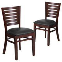 Flash Furniture Slat Back Walnut Wood Chairs with Black Vinyl Seats (Set of 2)