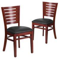 Flash Furniture Slat Back Mahogany Wood Chairs with Black Vinyl Seats (Set of 2)