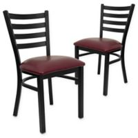 Flash Furniture Ladder Back Metal Chairs with Burgundy Vinyl Seats (Set of 2)
