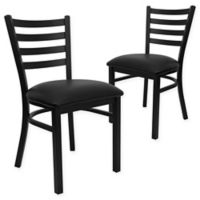 Flash Furniture Ladder Back Metal Chairs with Black Vinyl Seats (Set of 2)