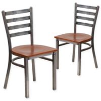 Flash Furniture Clear Coated Metal Ladder Back Chairs with Cherry Wood Seats (Set of 2)