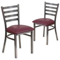 Flash Furniture Ladder Back Clear Coated Metal Chairs with Burgundy Vinyl Seats (Set of 2)