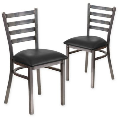 Flash Furniture Ladder Back Clear Coated Metal Chairs With Black Vinyl  Seats (Set Of 2
