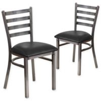 Flash Furniture Ladder Back Clear Coated Metal Chairs With Black Vinyl Seats Set Of 2