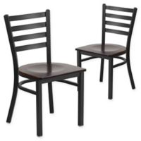 Flash Furniture Ladder Back Black Metal Chairs with Walnut Wood Seats (Set of 2)