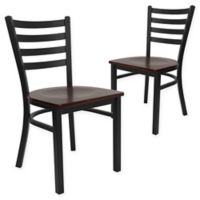 Flash Furniture Ladder Back Black Metal Chairs with Mahogany Wood Seats (Set of 2)
