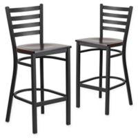 Flash Furniture Ladder Back Black Metal Stools with Walnut Wood Seats (Set of 2)