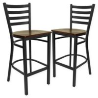 Flash Furniture Ladder Back Black Metal Stools with Mahogany Wood Seats (Set of 2)