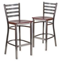 Flash Furniture Ladder Back Clear Coated Metal Stools with Mahogany Wood Seats (Set of 2)