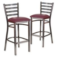 Flash Furniture Ladder Back Clear Coated Metal Stools with Burgundy Vinyl Seats (Set of 2)