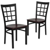 Flash Furniture Window Back Black Metal Chairs with Mahogany Wood Seats (Set of 2)