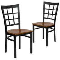Flash Furniture Window Back Black Metal Chairs with Cherry Wood Seats (Set of 2)