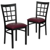 Flash Furniture Window Back Black Metal Chairs with Burgundy Vinyl Seats (Set of 2)
