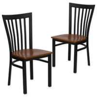 Flash Furniture School Back Black Metal Dining Chairs with Cherry Wood Seats (Set of 2)