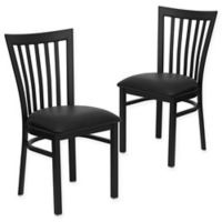 Flash Furniture School Back Black Metal Chairs with Black Vinyl Seats (Set of 2)