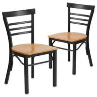 Flash Furniture Ladder Back Black Metal Chairs with Natural Wood Seats (Set of 2)