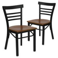 Flash Furniture Ladder Back Black Metal Chairs with Cherry Wood Seats (Set of 2)