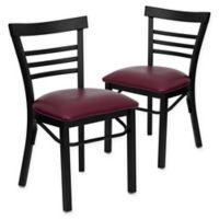 Flash Furniture Ladder Back Black Metal Chairs with Burgundy Vinyl Seats (Set of 2)