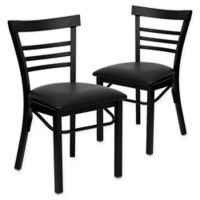 Flash Furniture Ladder Back Black Metal Chairs with Black Vinyl Seats (Set of 2)