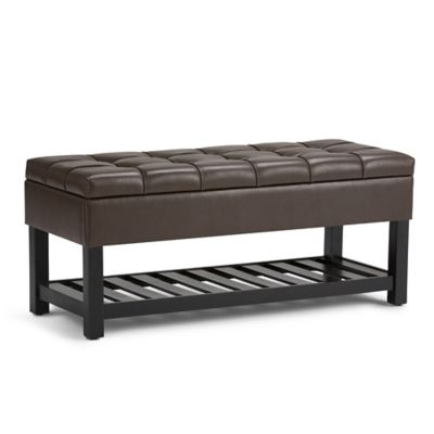 Saxon Faux Leather Storage Ottoman Bench In Chocolate Brown