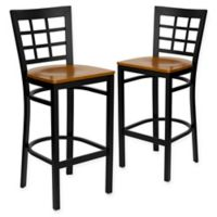 Flash Furniture Window Back Metal Stools with Cherry Wood Seats (Set of 2)