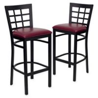 Flash Furniture Window Back Black Metal Stools with Burgundy Vinyl Seats (Set of 2)