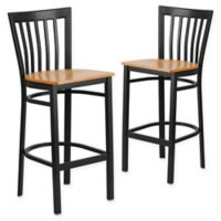Flash Furniture Schoolhouse Back Metal Stools with Natural Wood Seats (Set of 2)