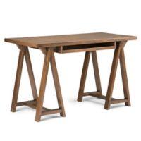 Simpli Home Sawhorse 50-Inch Small Desk in Saddle Brown