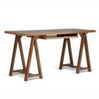 Simpli Home Sawhorse 60-Inch Desk in Saddle Brown