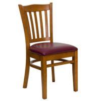 Flash Furniture Cherry Wood Vertical Slat Back Chairs with Burgundy Vinyl Seats