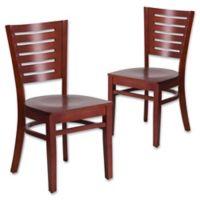 Flash Furniture Slat Back Mahogany Wood Chairs (Set of 2)